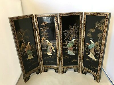 Vintage Asia Miniature Screen Folding Hand Painted And Laquer Carved Figures