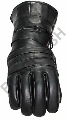 Black Ash B21 Motorcycle Winter Leather Riding Gloves Rain Cover Large