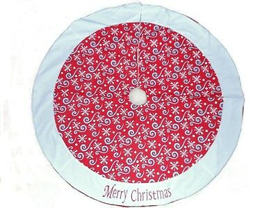 Red White Blue Patriotic Christmas Tree Skirt Brighten the Season 48 inches New