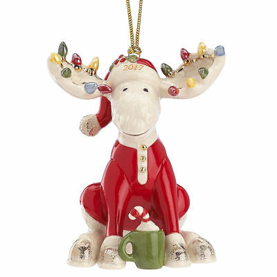 Lenox 2017 Marcel the Bedtime Moose Christmas Ornament New in Box MSRP $70