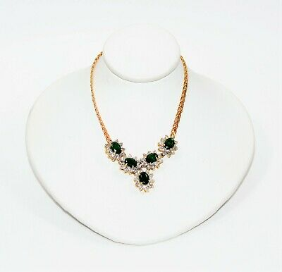Colombian Emerald & Diamond 6tcw 14kt Yellow Gold Statement Women's Necklace