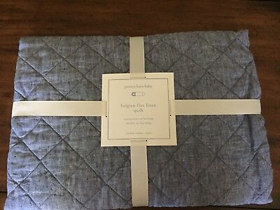 NWT Pottery Barn Kids Belgian Linen Toddler Crib Quilt $149