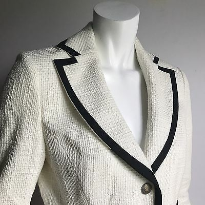 Holt Renfrew M Ivory Coco Summer Suit Blazer 10 Skirt 6 Cotton White Tailor