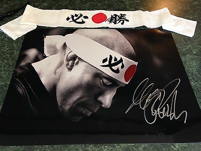 Georges RUSH St Pierre 16x20+Headband GSP Champ UFC Signed Autograph Bisping NY