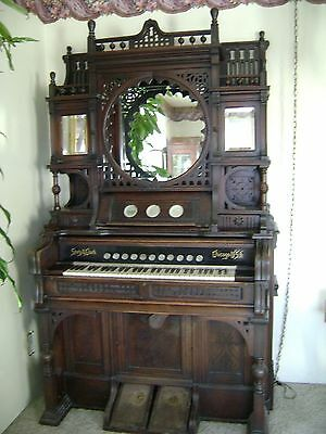 Antique Victorian Story & Clark Pump Organ Intricate Ornate Mirrored Doors Shelf