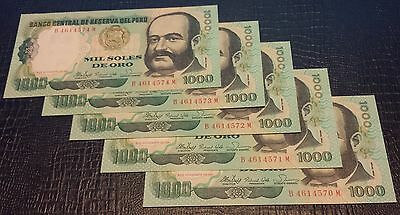 Peru 5 of 1000 Mil Soles Bank Notes (Consecutive) Great Condition
