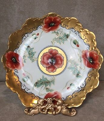 Vintage Pickard Hand Painted Plate Dish Poppies Floral Gold Trim Scallop Edge