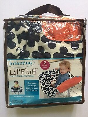 Infantino Shopping Cart & High Chair Cover Black White Coral Lil Fluff