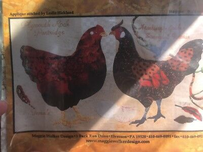 "Quilt Kit ""Maggie Walker "" Cute Country Chicken Plymouth Partridge  & Hamburg #5"