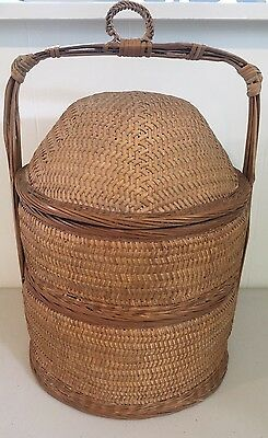 Vintage Chinese Wedding Basket 2 Tier Woven Bamboo Stacking Wicker