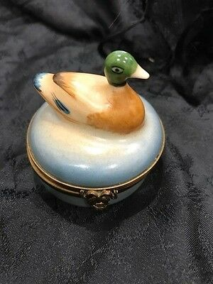 Limoges France Peint Main Small Duck Hinged Trinket Box