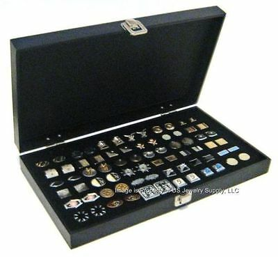 Grained Leatherette Wood Black Cufflinks Display Portable Storage Boxes Case