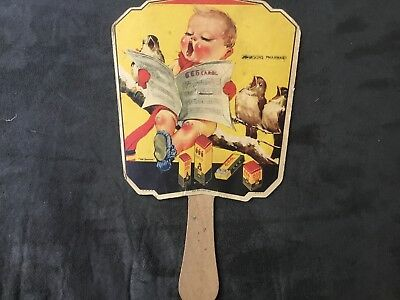 Vintage Advertising Hand Fan-666 Salve Drops Tablets Medicine Johnson's pharmacy