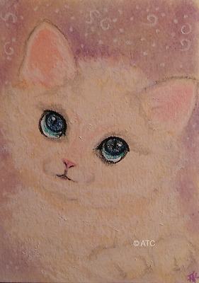 ACEO *Cat-Animals/Pets/Cat/Nature* Original Art Card Signed by Artist
