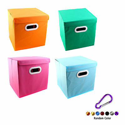 Foldable Solid Color Fabric Storage Bin Toy Box With Cover Cube Drawer +Key Ring