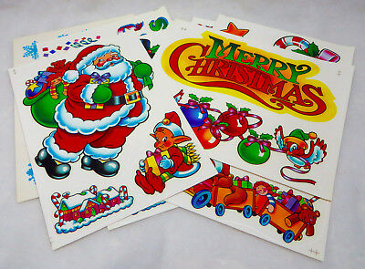 9 Pages Vintage Christmas Static Cling Reusable Vinyl Window Decorations