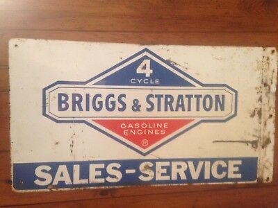 Vintage BRIGGS AND STRATTON ADVERTISING FLANGE SIGN Gas Engine MOTOR not Oil