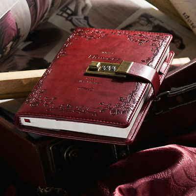 B6 Red Rose Combination Lock Leather Cover Journal Diary Password Notebook