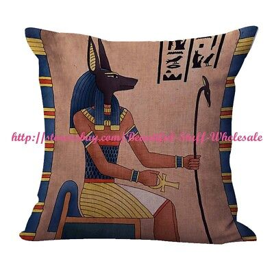 US SELLER- decorative pillow case Egyptian Ancient God Anubis cushion cover