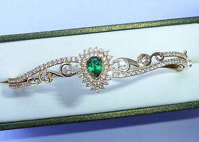 Asian Style 18ct Gold Green & Clear CZ Bangle Bracelet, 7.8g