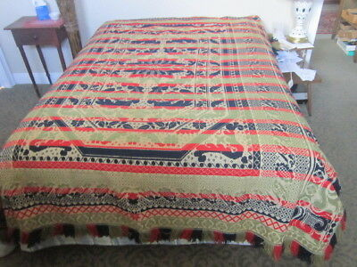 19th C. Antique Four Color Coverlet Immaculate