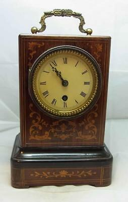 A Lovely Working Antique Inlaid Campaign Mantel Clock Bolviller Paris