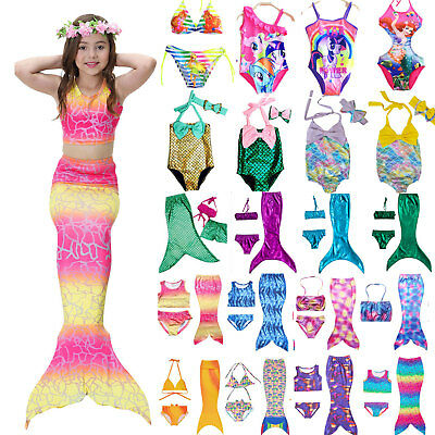Kids Girls Swimmable Mermaid Tail Bikini Swimwear Swimming Costume Set Beachwear
