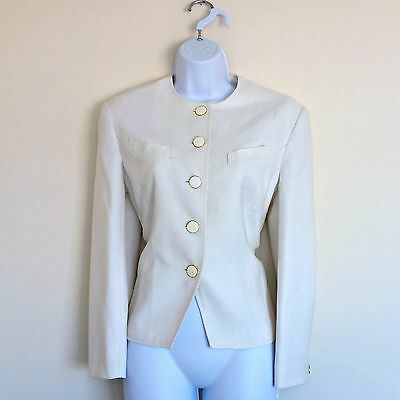 (624) Vintage 90s Windsmoor Cream Chic Blazer - Size M Med Medium, Twelve 12