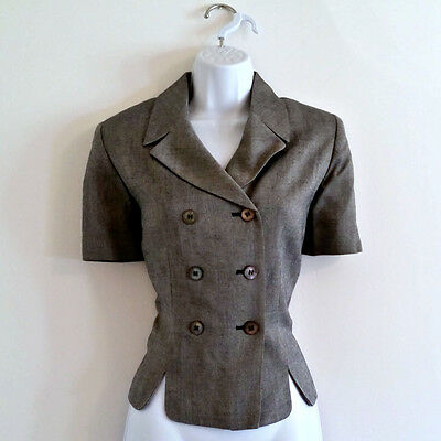 Vintage 70s Silver Double Breasted Short Sleeve Blazer - Size S