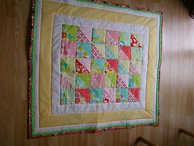 Handmade Quilted Baby Quilt Cot / Pram  Moda Fabric Abstract Designs