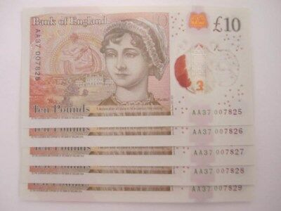 x1 New £10 NOTE AA INC 007  TEN POUNDS CONSECUTIVE NUMBERS Uncirculated Bond