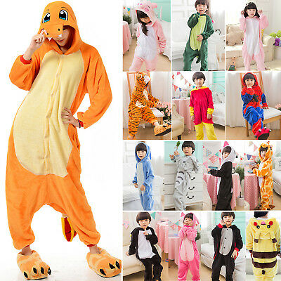 Kids Unisex Velvet Pajamas Kigurumi Cosplay Animal Costume Sleepwear Nightwear