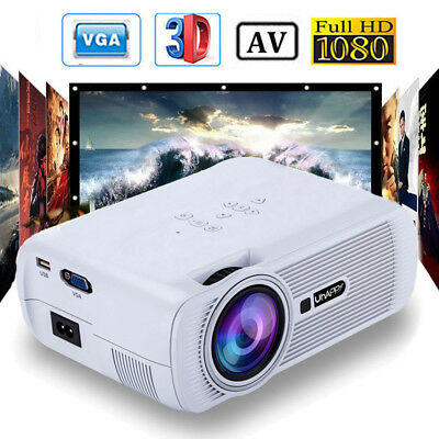 Mini 7000 Lumens LED Multimedia Projector 1080P Home Cinema Theater HDMI USB VGA
