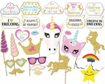 Rainbow Unicorn Pegasus Photo Booth Props Kit - 26 Pack Party Camera Props