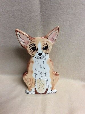 "Dogs by Nina Figurine Vase~~CHIHUAHUA~~10"" tall~opening approx 1 1/2"" diameter"