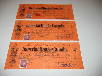 3 Imperial Bank Of Canada Check, Montreal, Quebec, 1951 With Stamps