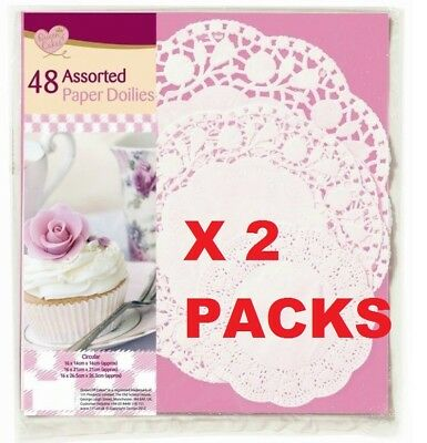 48 Assorted Lace Paper Doilies Round White Coasters Party Catering Cake Plate