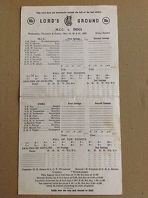 MCC v India at Lord's May 1982 Cricket Scorecard