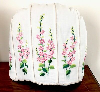 "VINTAGE HAND EMBROIDERED "" Floral  ""OFF WHITE LINEN TEA COSY COVER"