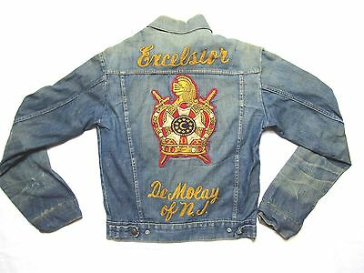 VINTAGE 60S EXCELSIOR DEMOLAY OF NJ chainstitch denim jacket MENS S PATCH USA