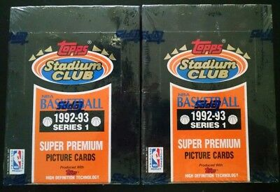 Lot of (2) Factory Sealed Boxes of 1992-93 Topps Stadium Club Series1 Basketball