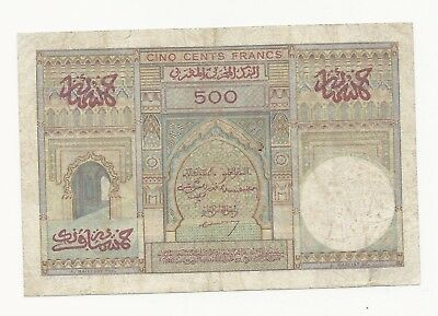 Morocco 500 Francs 1949 in (F-VF) CRISP Banknote P-46 French Rule