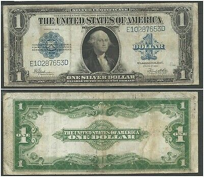 USA 1 Dollar 1923 at (F-VF) Condition Banknote Silver Certificate Blue Seal
