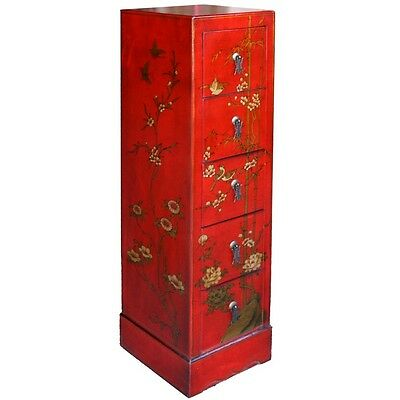 Oriental Red  Flora  Painted CD/DVD Cabinet Tower (CD-C5R-FL)
