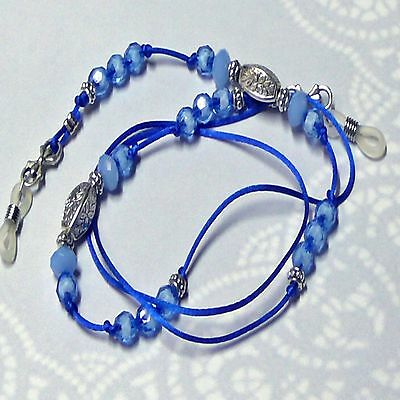 Reading eye glasses, spectacle chain holder lanyard  Rich Cobalt Blue