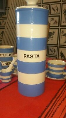 large cornish blue pasta pot with lid by T G GREEN