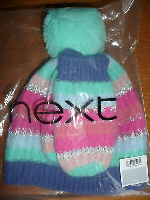 BNWT Next Girls Hat & Mittens Set/ Multi-Coloured/ Sparkly/ 5-6 Years