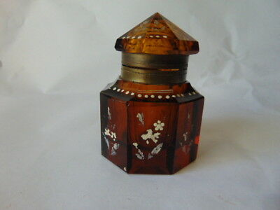 Rare 1890 Amber Eight Sides Cut Glass Hand Painted Inkwell