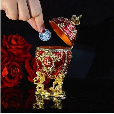 Large Royal Red Imperial Faberge Egg style Money Box Gift Home Decor