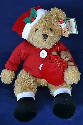 ADORABLE PLUSH SAMMY SANTA BEAR!  By Russ for Avon NEW WITH TAGS MINT